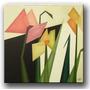 Quadro Decorativo Gravura Tela Painel Cubismo Flores1 70x70
