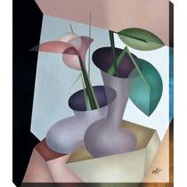Quadro Decorativo Gravura Tela Painel Cubismo Vaso2 70x60cm