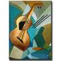 Quadro Decorativo Gravura Tela Painel Cubismo Violão 2 40x30