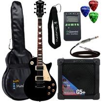 Kit Guitarra Les Paul Mlp100 Preta Memphis Tagima + Cubo + A
