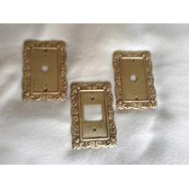 Espelho Placa De Luz Antigos Em Metal Maciço Decorado 2 X 4