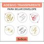 200 Adesivos P/selar Envelope C/iniciais 5x5cm Transparentes
