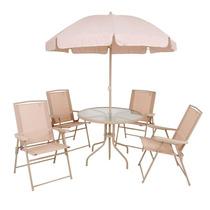 Conjunto Jardim Malibu Bege Mesa C/guarda-sol + 4 Cadeiras