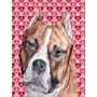 Staffordshire Bull Terrier Staffie Hearts And Love Flag Canv