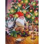 Gnome Do Natal Pela Árvore Flag Canvas Casa Tamanho Acg0134