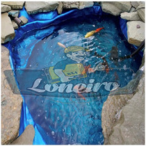 Lona Plástica Azul 9x6 Lago Tanque Peixes Cisterna 300micra