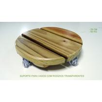 Suporte P/ Vasos C/ Rodízios Transparentes - Redondo 25 Cm