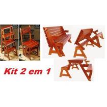 Projeto Marcenaria Kit Cadeira Vira Escada + Mesa Vira Banco