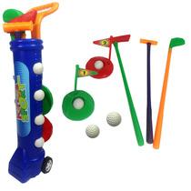 Jogo De Golfe Infantil Kit C/ Carrinho Tacos Bolinha Caçapa