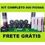 Kit Jogo Poker Completo 600 Fichas Numeradas Pano 6 Baralho