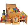 Baú Pedagógico Com 10 Brinquedos De Madeira