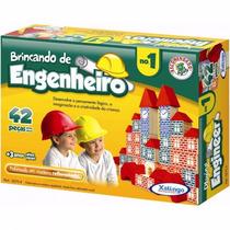 Brinquedo Pedagógico Madeira Brincando Engenheiro 1 42 Peças