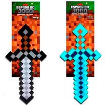 2 Espadas Minecraft Diamante E Pedra 60cm Game Jogo Inmetro