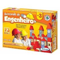Brinquedo Pedagógico Madeira Brincando Engenheiro 3 73 Peças