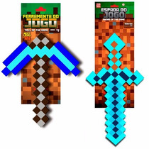Kit Espada E Picareta Minecraft Original Diamante Ouro Ferro