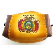 Porta Moeda De Couro De Lhama Com O Brasao Da Bolivia B1541