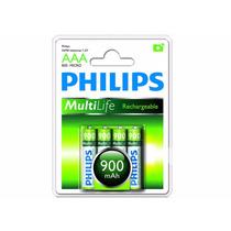 Pilha Recarregável Philips 900mah Aaa (4) Palito R03b4a90/97