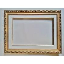 Moldura Para Foto 40x50cm - Dourada- C Eucatex E Pvc Cristal