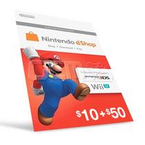 Cartão Nintendo 3ds - Wii U Eshop Cash Card $60 ($50+$10) Us