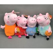 Original Peppa Pig Família, Pelucia, Marca Ty, Kit 4 Bonecos