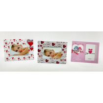 Porta-retrato Amor Love Coruja Coração 10cm X 15cm Kit Com 3