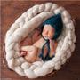 Trança De Lã Merino Cor Branca 3 M - Newborn Prop Art Crochê