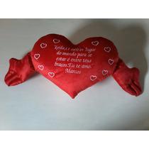 Coração De Pelúcia Com Frase Personalizada 0,50cm X 1,20cm