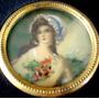 Antiga Pintura Miniatura S/ Celuloide Figura De Dama 10x10cm