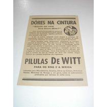 ( L - 290/ G ) Propaganda Antiga Remédio Pírulas De Witt