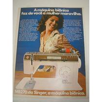 ( L - 290/ G ) Propaganda Antiga Máquina De Costura Singer
