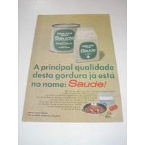 ( L - 290/ P ) Propaganda Antiga Gordura Vegetal Saude