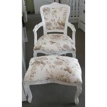 Cadeira Amamentação, Decoração Luiz Xv Com Puff