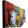 Quadro Romero Brito - O Abraço - Pintado À Mão 16x60 Cm