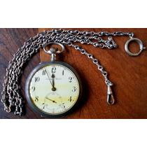 100-relógio De Prata-bolso-international C/corrente De Prata