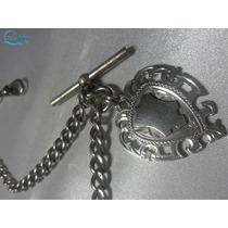 Antiga Corrente Para Relógios De Bolso Prata Pura + Medalha
