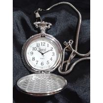 Relógio De Bolso Banhado À Prata Vintage Retrô Rock Gótico