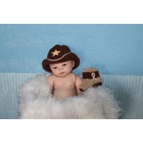 Newborn Cowboy Conjunto Feito A Mao , Props... Acessorios.