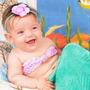 Fantasia Pequena Sereia 3 Peças Newborn, Recém Nascido Crocê