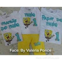 Fantasia Bob Espoja, E Camiseta Pai E Mãe