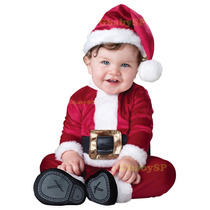 Fantasia De Papai Noel Bebê Criança Infantil Roupa De Veludo