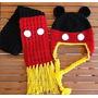 Conjunto Em Crochê Touca + Cachecol Mickey Todos Os Tamanhos