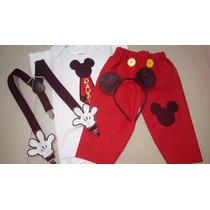 Fantasia Mickey (body, Calça, Suspensório E Arquinho)