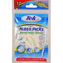 Tek Floss Picks - Fio Dental Individual - Pacote Com 10 Unid