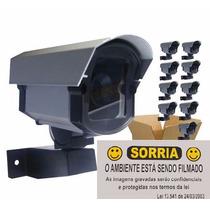 Kit 10 Câmeras Falsa C/ Led Bivolt + 10 Placas Sorria