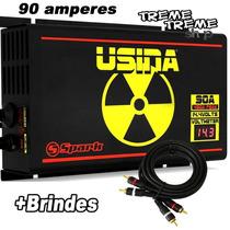 Fonte Usina Spark 90 Amper 12 14 Volts Voltimetro + Brindes