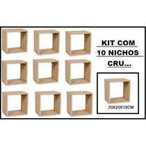 Kit 10 Nichos Crú 20x20x10 Atacado-100%mdf 15mm P/artesanato