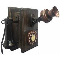 Telefone Antigo Nelphone De Parede Preto
