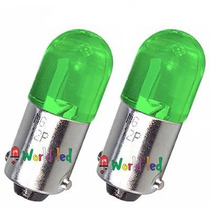 Par Lâmpada Automotiva 69 Ba9s 1 Led Verde 12v