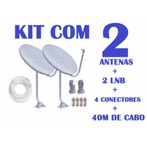 Kit 2 Antenas Banda Ku + 2 Lnb + 40m De Cabo Coaxial Rg6