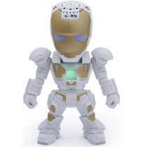 Mini Caixa De Som Portátil Usb Sd Radio Armadura Iron Man